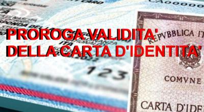 AVVISO PROROGA VALIDITA' CARTA DI IDENTITA'